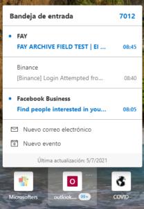 La bandeja de entrada de Outlook en Canary Edge