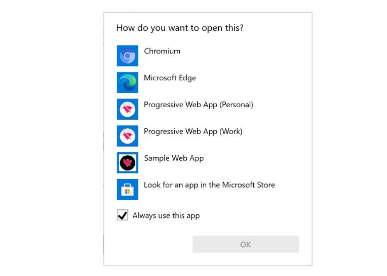 """Diálogo """"abrir con"""" en Windows 10 con PWA"""
