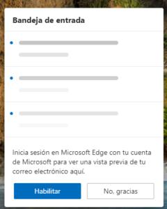 Nueva información de acceso en Edge Canary