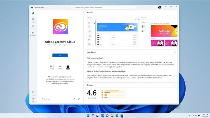 Tienda Adobe de Windows 11