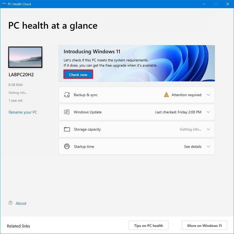 Comprobación de compatibilidad de hardware de Windows 11