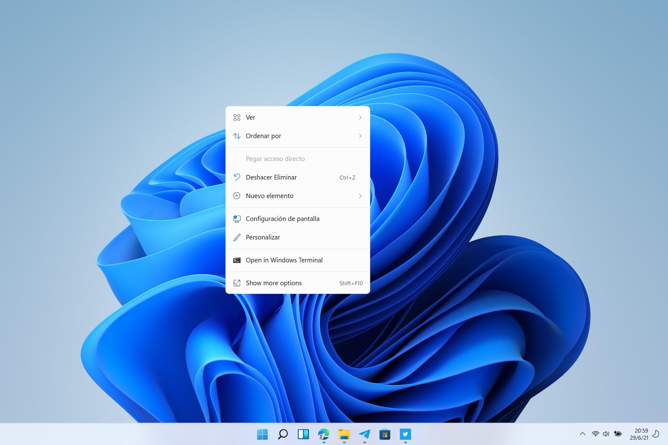 Menús contextuales de Windows 11