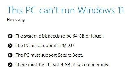 Requisitos del sistema para Windows 11