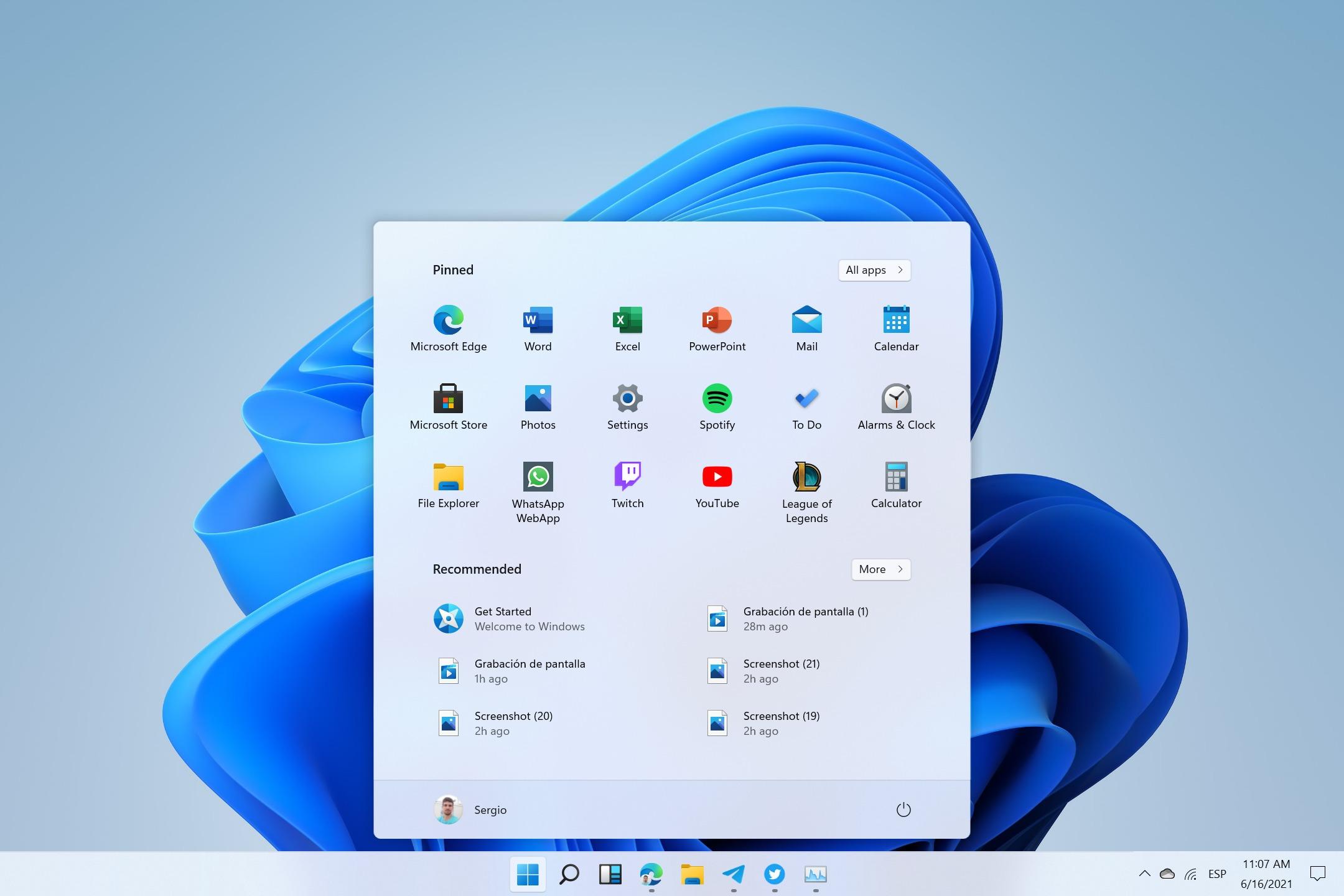 Menú de inicio de Windows 11