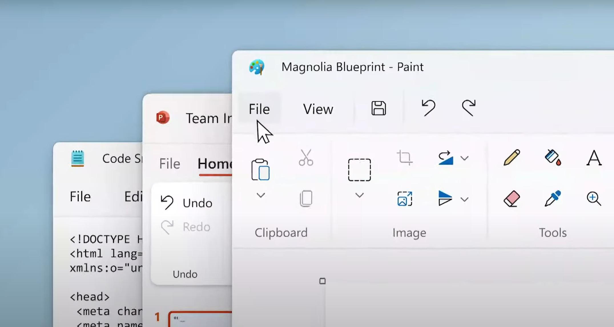 Pintura y Bloc de notas en Windows 11