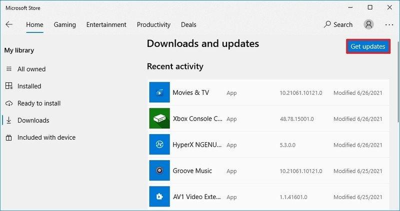 Actualiza la aplicación de Microsoft Store