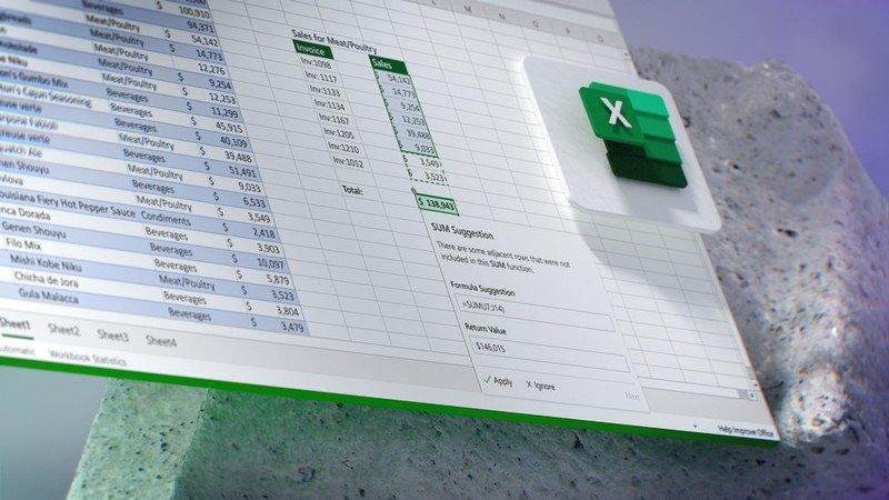 El futuro del concepto de Microsoft 365 que muestra sugerencias de fórmulas de Excel