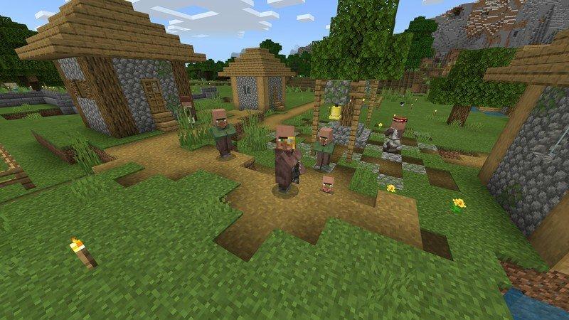 Algunos aldeanos felices