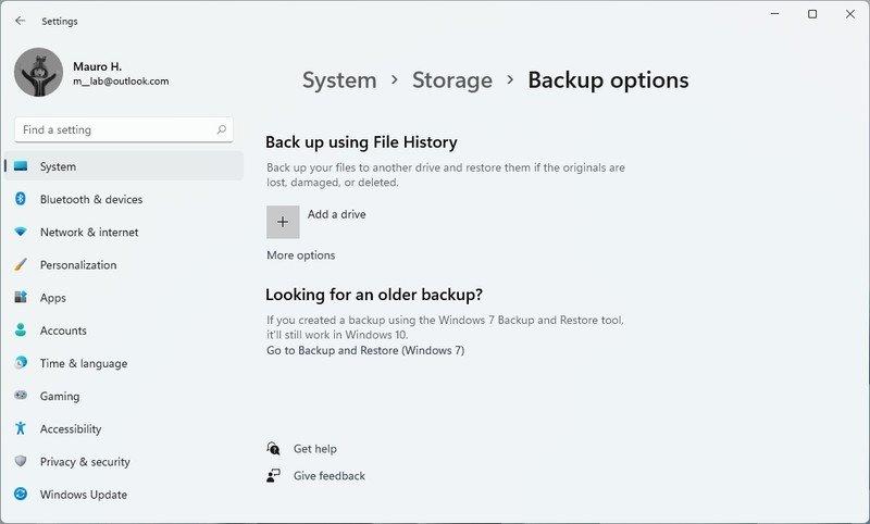 Opciones de copia de seguridad de Windows 11