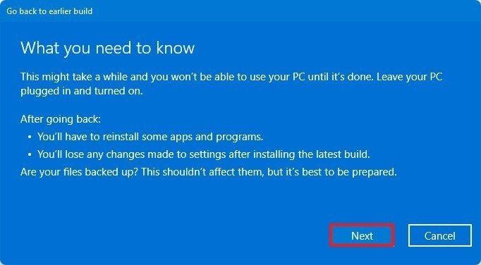 Advertencia de restauración de Windows