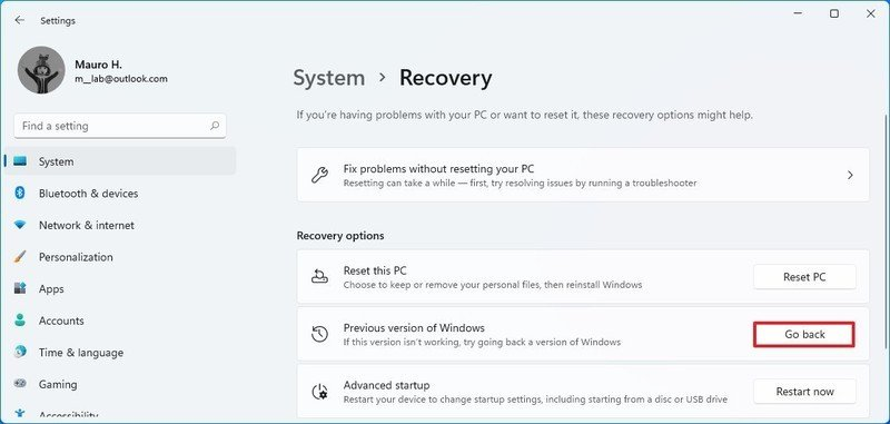 Opción de restauración de Windows 11 a Windows 10