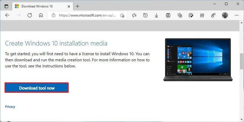 Descargar la herramienta de creación de medios para Windows 10