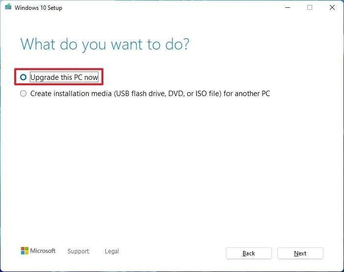 Actualizar esta opción de PC ahora