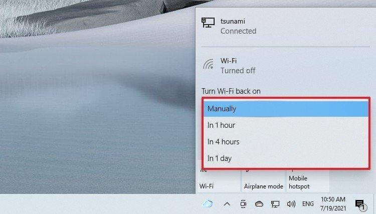 Reconexión Wi-Fi programada de Windows 10