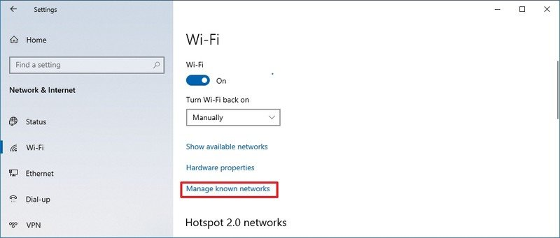 Windows 10 administra la opción de red conocida