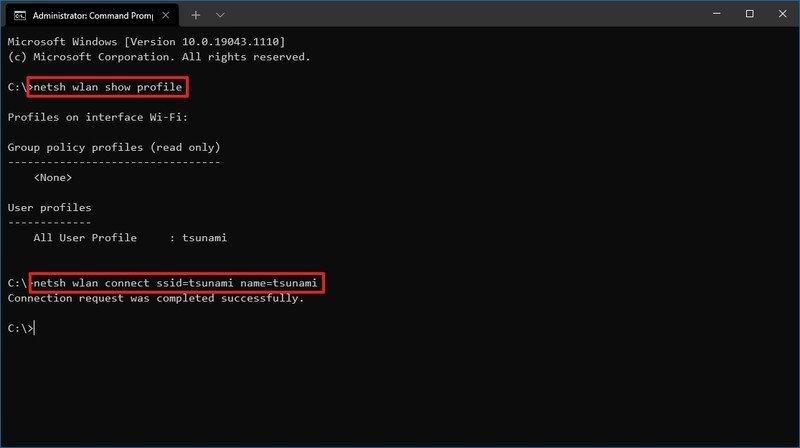 netsh conectar al comando de red wi-fi