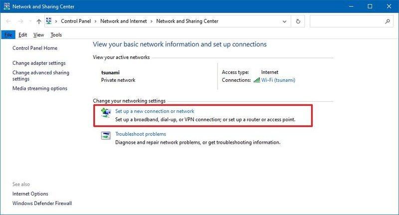 Configurar una nueva conexión u opción de red