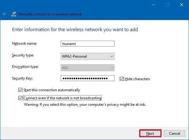 Configurar el perfil inalámbrico del panel de control