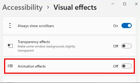 Disable-Windows-11-Animation-Effects