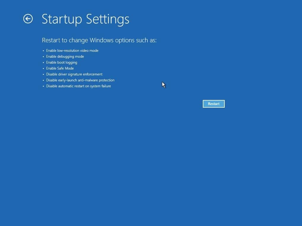 Opciones de arranque de Windows-11