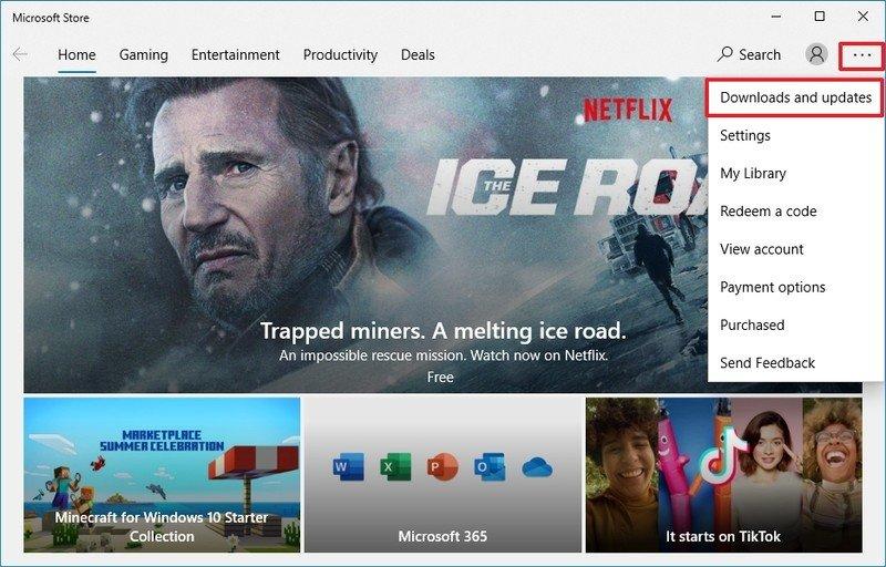 Opción de actualización de aplicaciones de Microsoft Store