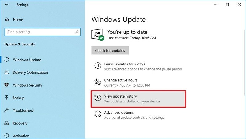 Opción de historial de actualizaciones de Windows