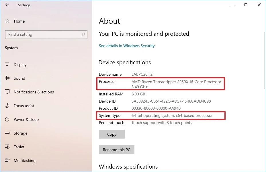 Información del procesador de Windows 10