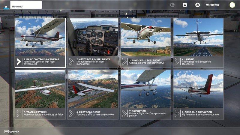Entrenamiento de vuelo de Microsoft Flight Simulator