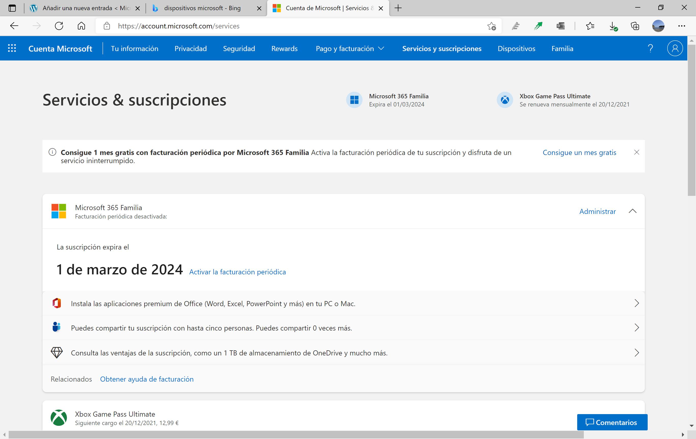 Suscripciones en cuenta Microsoft con estilo Windows 11