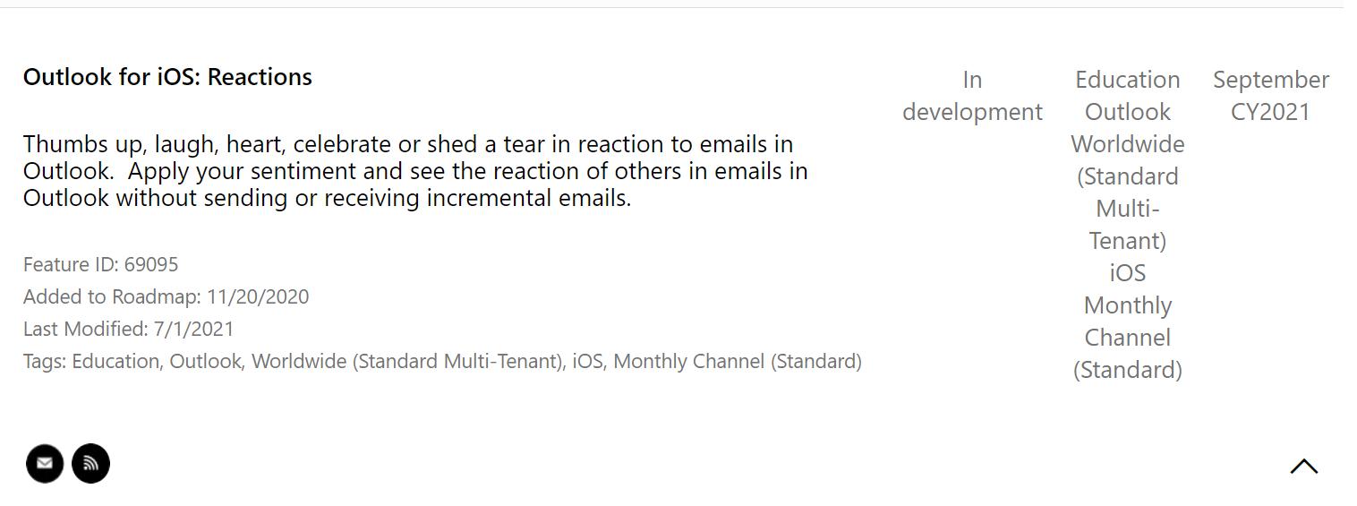 Reacciones de Outlook en iOS