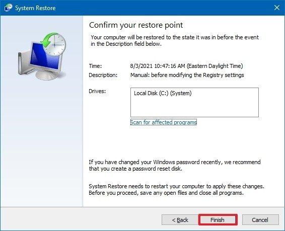 Restauración completa del sistema de Windows 10