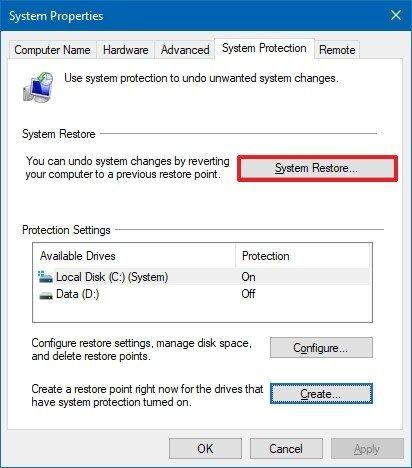 Restauración del sistema de inicio de Windows 10
