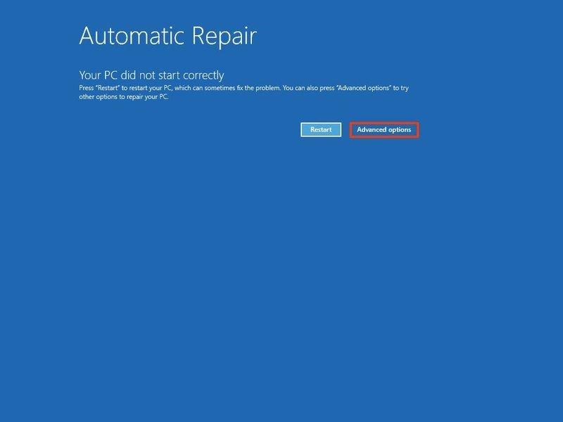 Opciones avanzadas de reparación automática