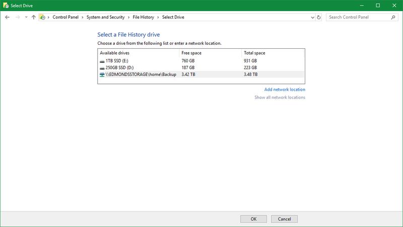 Historial de archivos de Windows 10