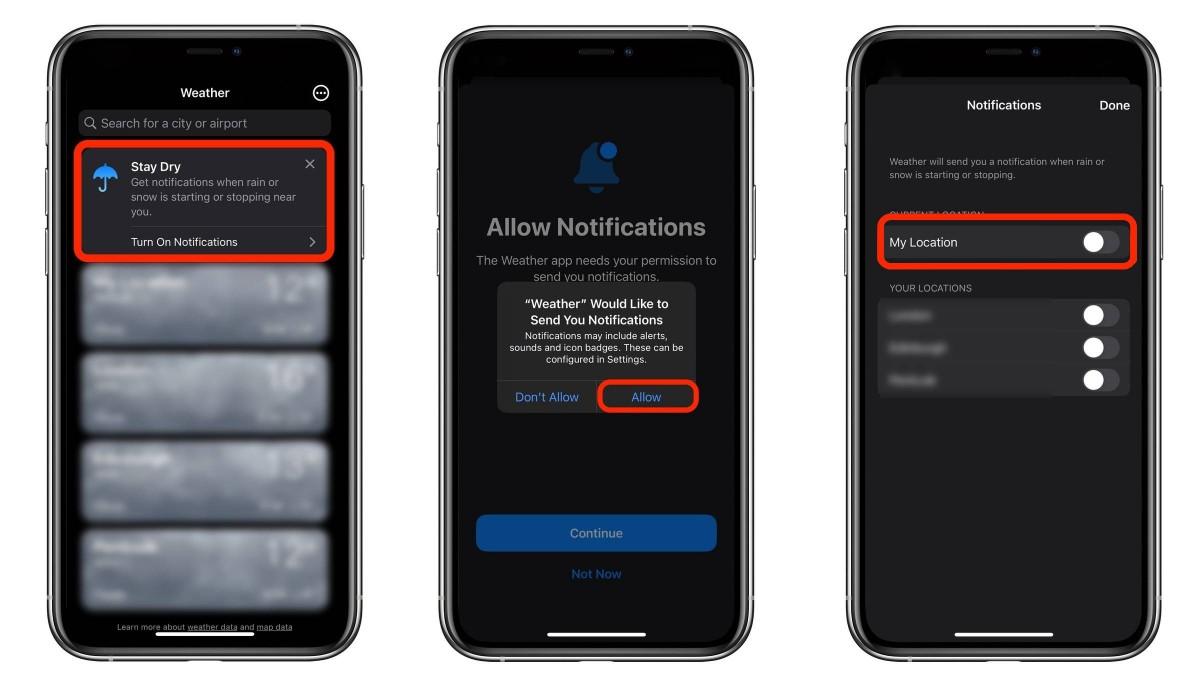 iPhone-Notificaciones del tiempo